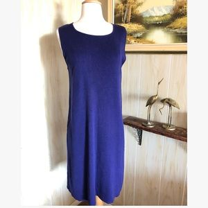 Vtg Ribbed Silk Knit Midi Dress